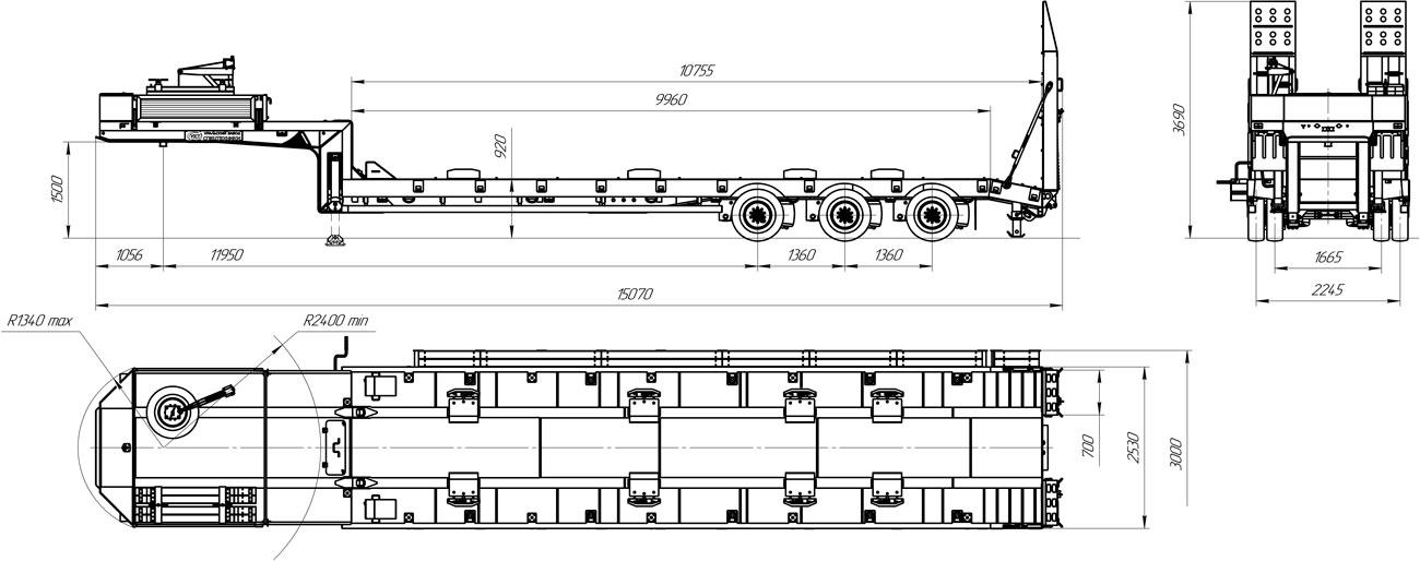 Габаритный чертеж низкорамного полуприцепа-тяжеловоза марки УЗСТ 9174-012Н3