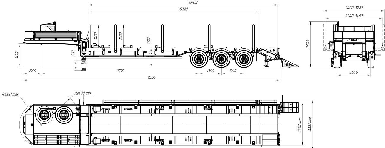 Габаритный чертеж полуприцепа-тяжеловоза марки УЗСТ 012В3