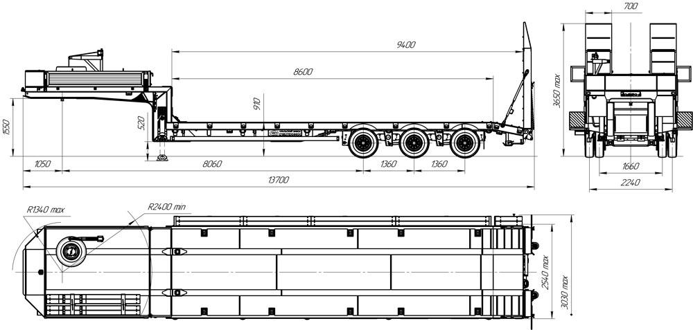 Габаритный чертеж полуприцепа-тяжеловоза низкорамного марки УЗСТ 9174-013Н3