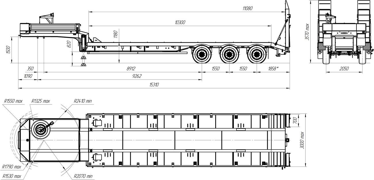 Габаритный чертеж полуприцепа-тяжеловоза марки УЗСТ 9174-018В3