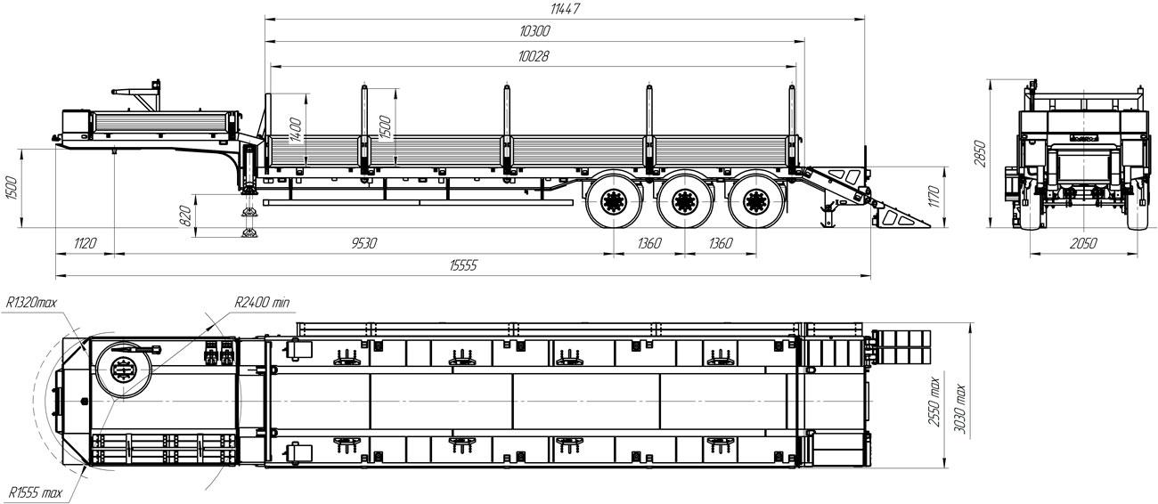Габаритный чертеж полуприцепа-тяжеловоза УЗСТ 9174-01В3