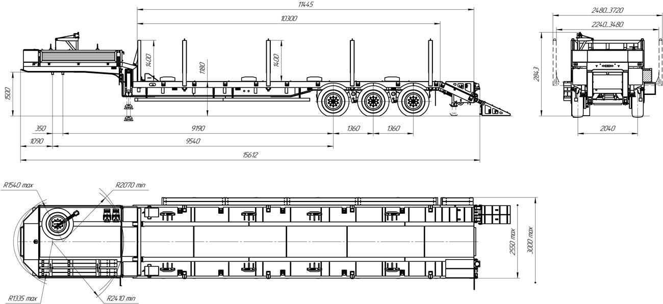 Габаритный чертеж полуприцепа-тяжеловоза марки УЗСТ 9174-022В3 (36 т.)