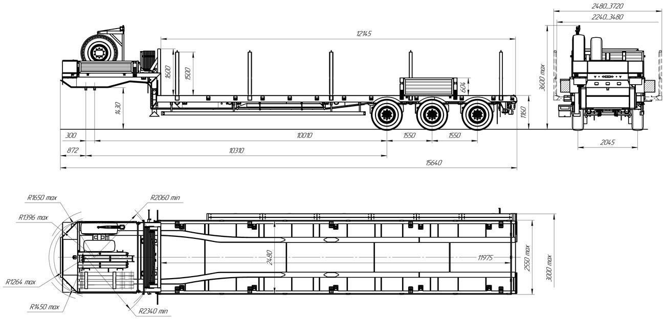 Габаритный чертеж полуприцепа-тяжеловоза высокорманого марки УЗСТ 9174-024В3