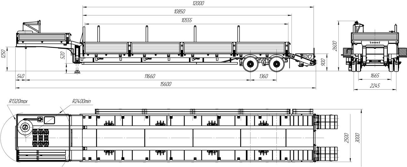 Габаритный чертеж полуприцепа-тяжеловоза УЗСТ 9175-02Н2