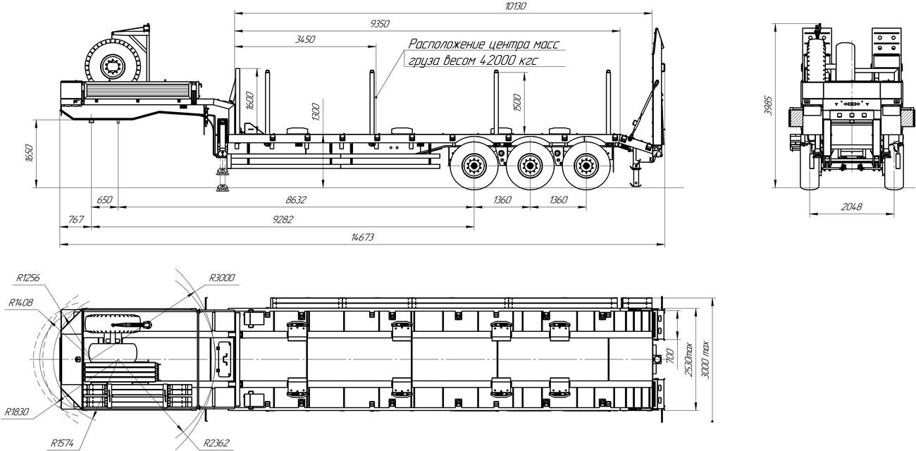 Габаритный чертеж высокорамного полуприцепа-тяжеловоза марки УЗСТ 9174-033В3