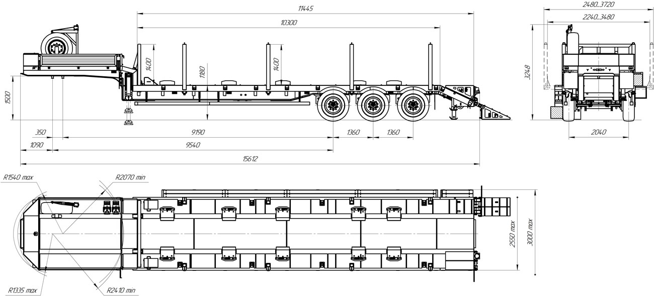 Габаритный чертеж полуприцепа-тяжеловоза высокорамного марки УЗСТ 9174-036В3