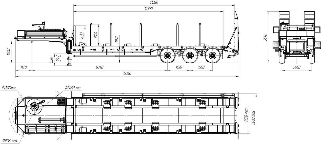 Габаритный чертеж полуприцепа-тяжеловоза УЗСТ 9174-03В3