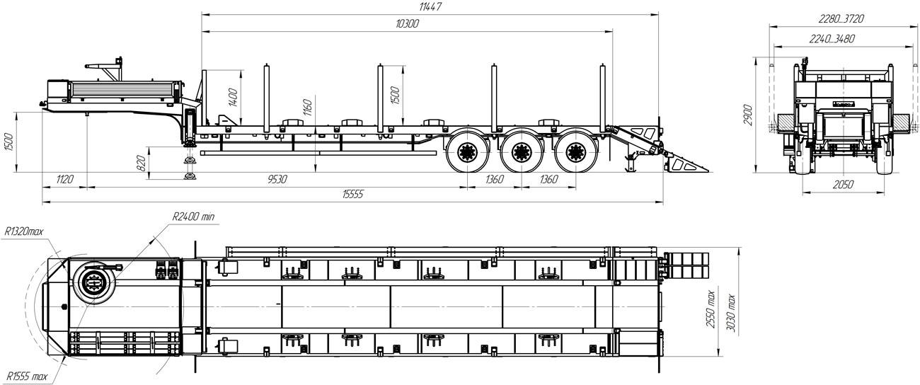 Габаритный чертеж полуприцепа-тяжеловоза УЗСТ 9174-06В3