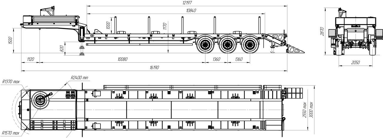 Габаритный чертеж полуприцепа-тяжеловоза УЗСТ 9174-07В3