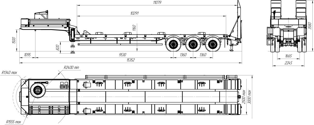Габаритный чертеж полуприцепа-тяжеловоза УЗСТ 9174-09В3