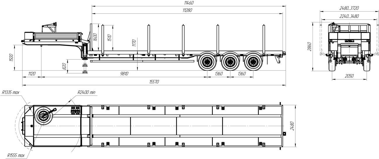 Габаритный чертеж полуприцепа-тяжеловоза УЗСТ 9174-11В3