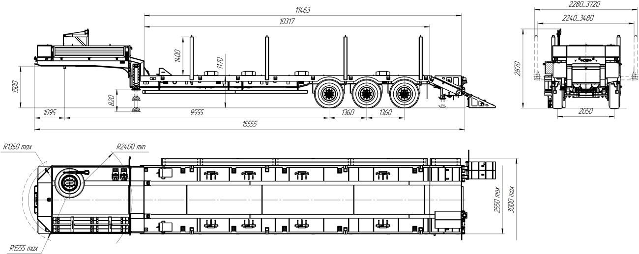 Габаритный чертеж полуприцепа-тяжеловоза УЗСТ 9174-16В3