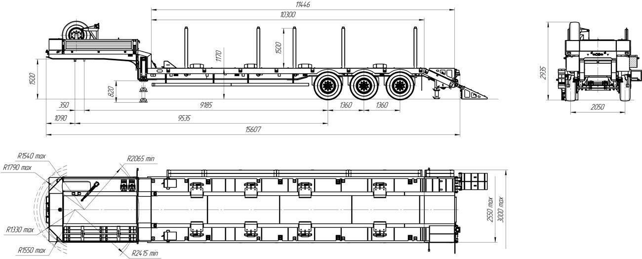 Габаритный чертеж полуприцепа-тяжеловоза УЗСТ 9174-17В3