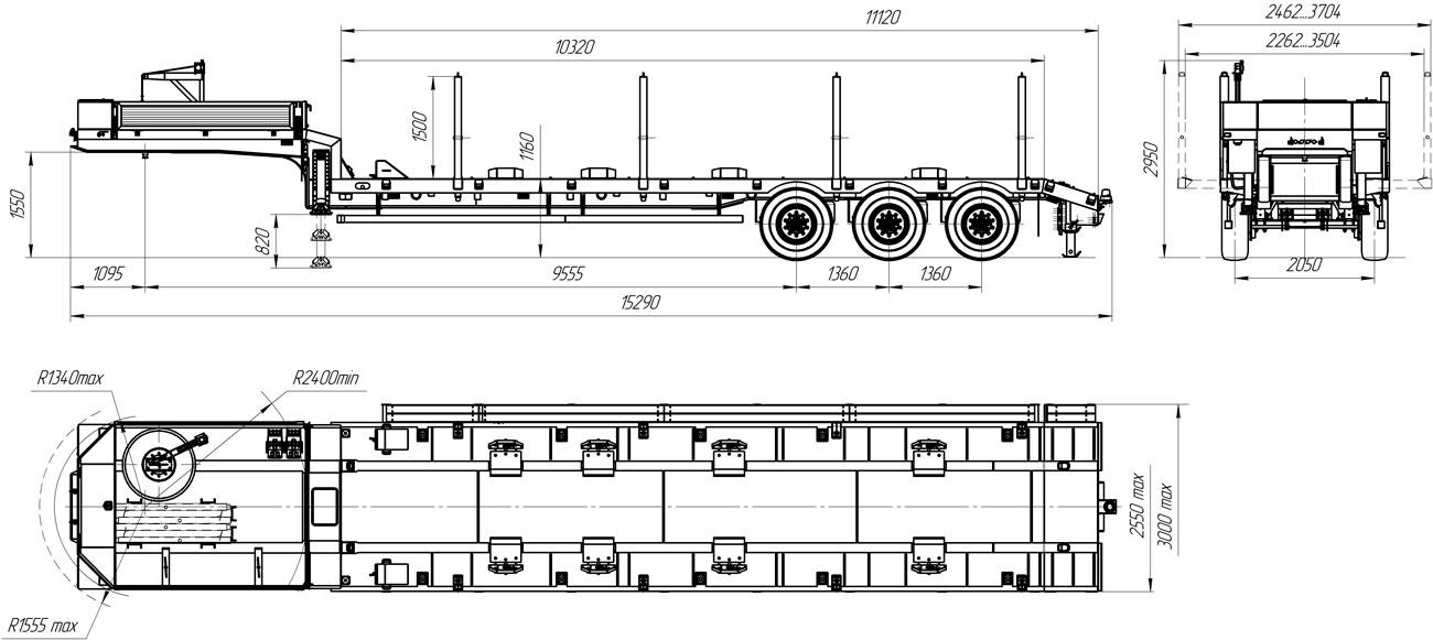 Габаритный чертеж полуприцепа-тяжеловоза УЗСТ 9174-18В3