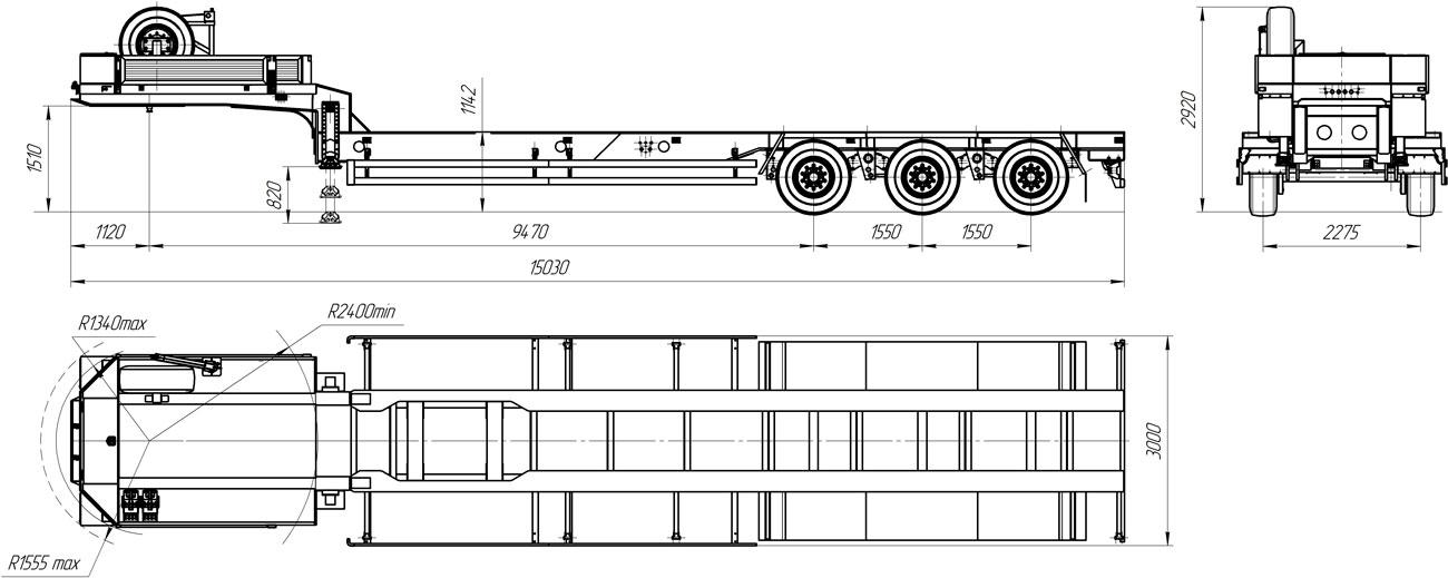 Габаритный чертеж полуприцепа-тяжеловоза УЗСТ 9174-19В3