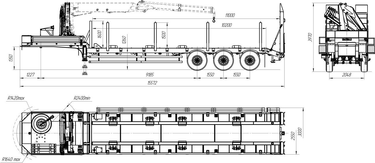 Габаритный чертеж полуприцепа-тяжеловоза УЗСТ 9174-201В3 с КМУ