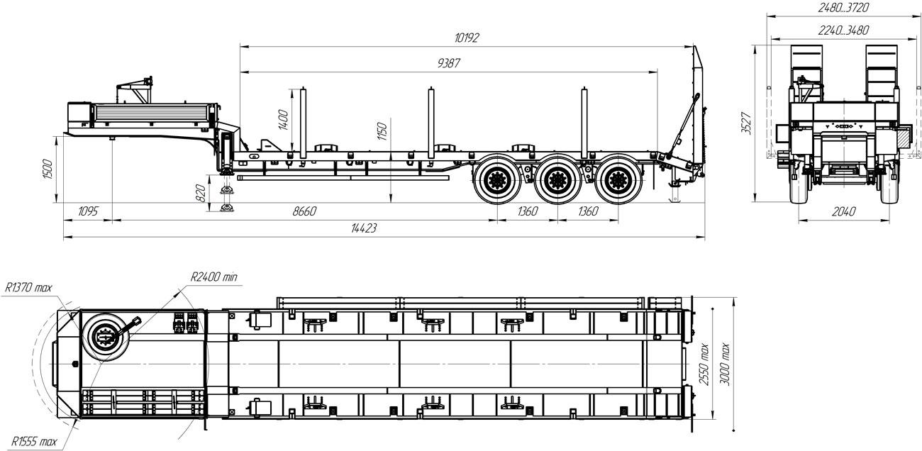 Габаритный чертеж полуприцепа-тяжеловоза УЗСТ 9174-20В3