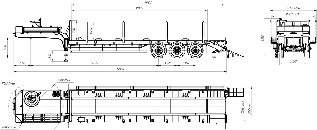 Габаритный чертеж полуприцепа-тяжеловоза УЗСТ 9174-31В3