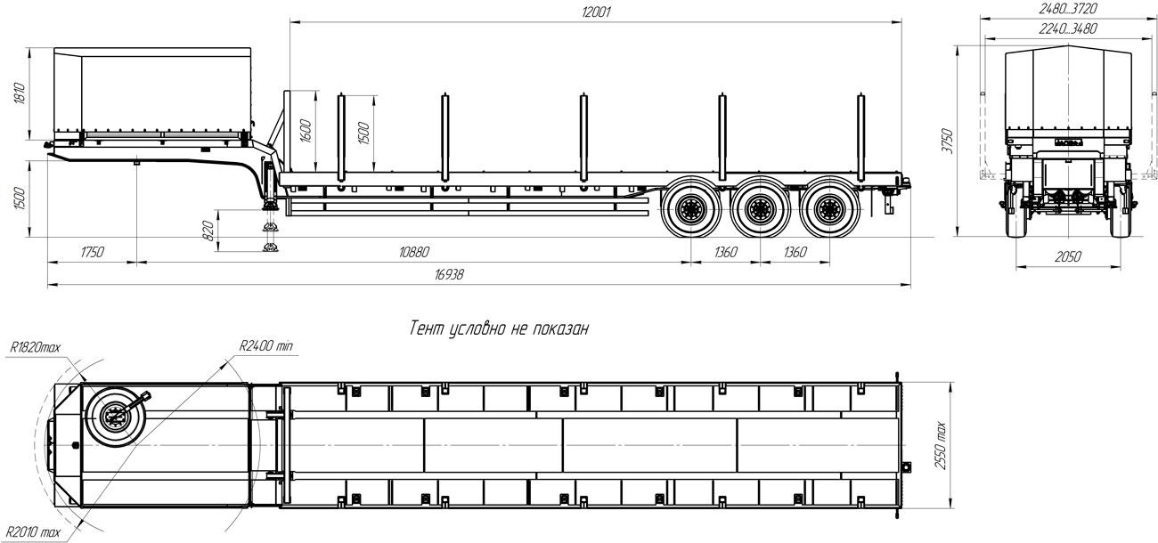 Габаритный чертеж полуприцепа-тяжеловоза УЗСТ 9174-32В3
