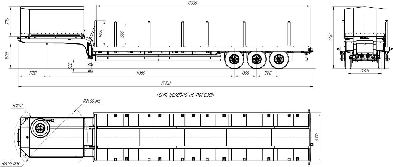 Габаритный чертеж полуприцепа-тяжеловоза УЗСТ 9174-33В3