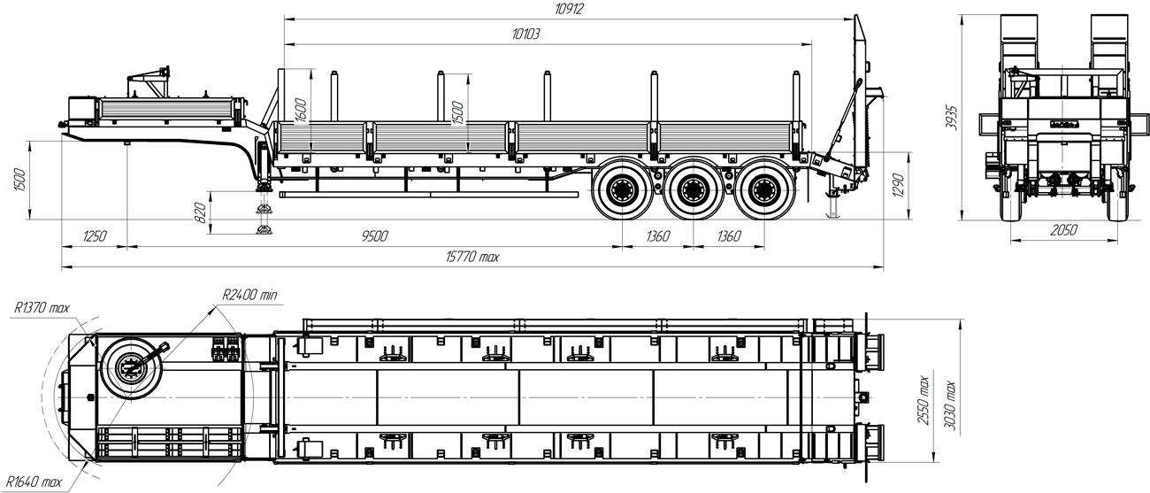 Габаритный чертеж полуприцепа-тяжеловоза УЗСТ 9174-34В3