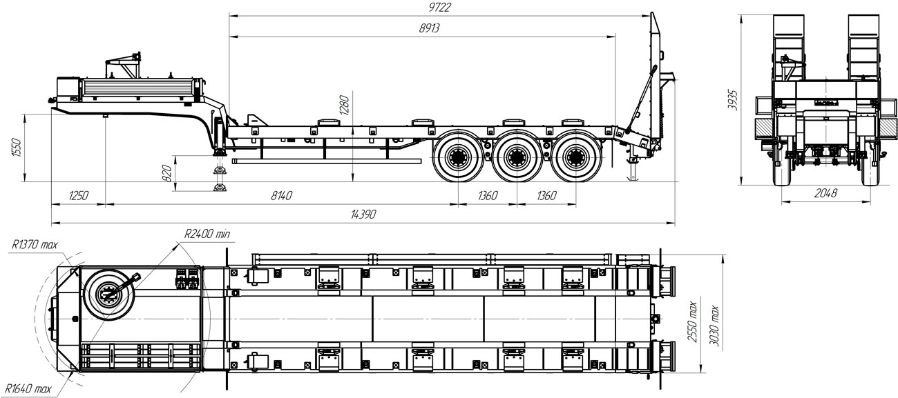 Габаритный чертеж полуприцепа-тяжеловоза УЗСТ 9174-35В3