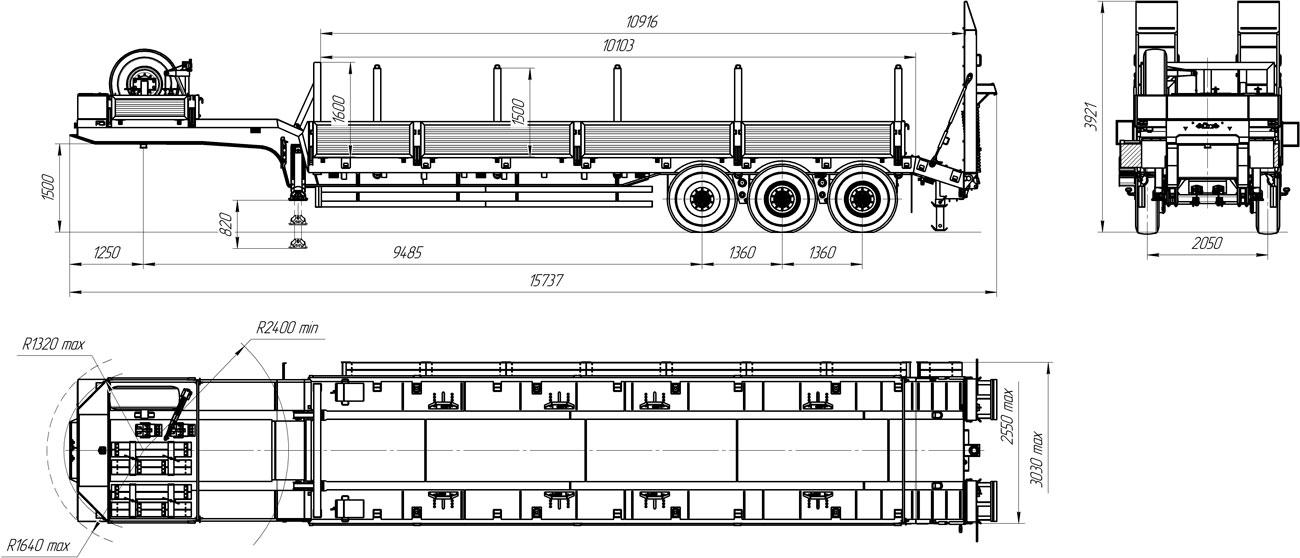 Габаритный чертеж полуприцепа-тяжеловоза УЗСТ 9174-36В3