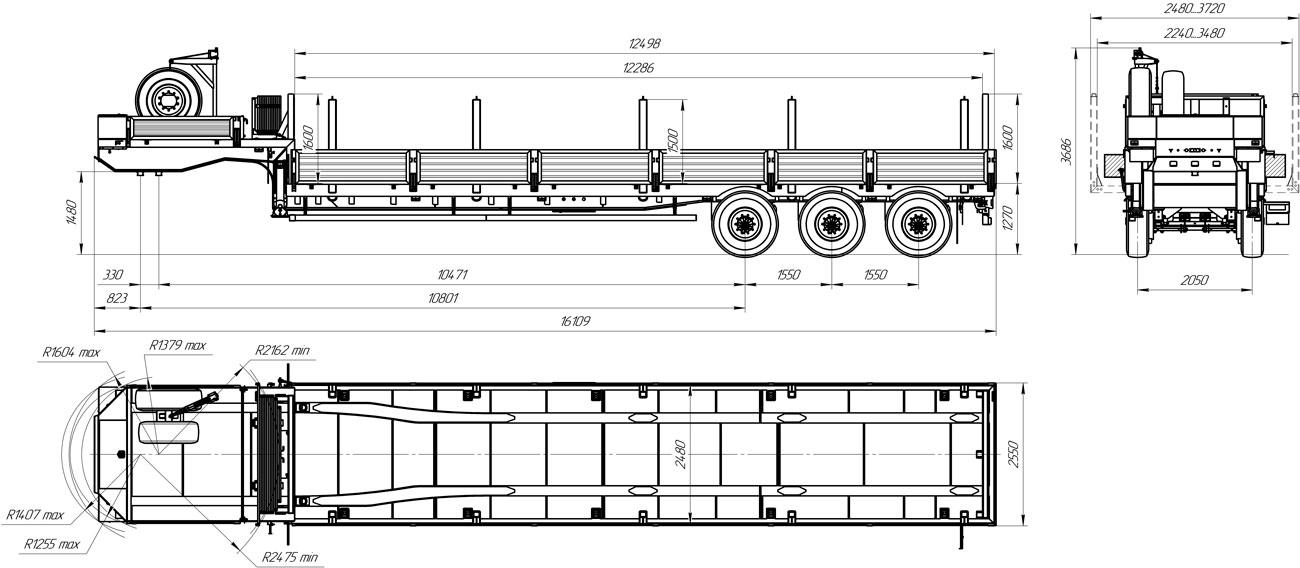 Габаритный чертеж полуприцепа-тяжеловоза высокорамного марки УЗСТ 9174-40В3