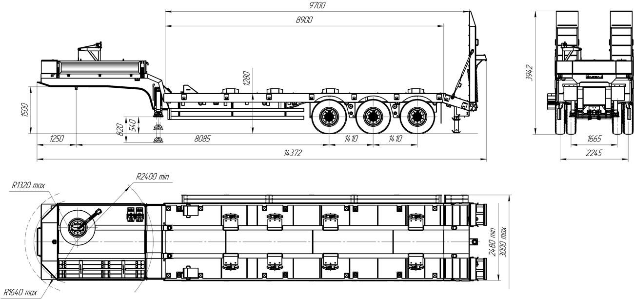 Габаритный чертеж полуприцепа-тяжеловоза УЗСТ 9174-50В3