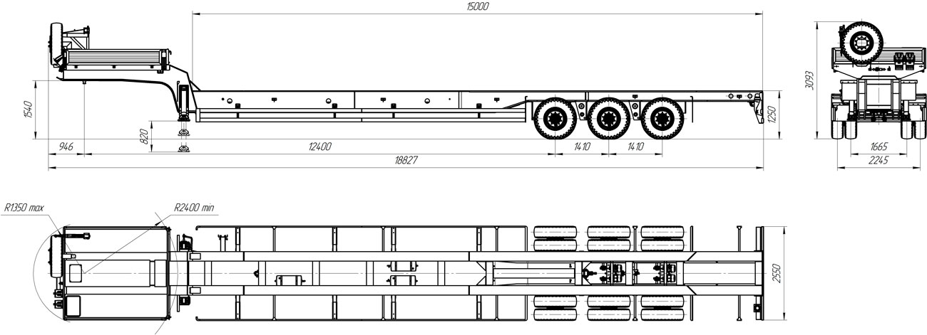 Габаритный чертеж полуприцепа-тяжеловоза УЗСТ 9174-51В3