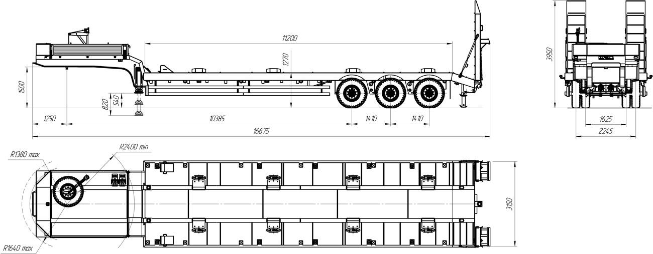Габаритный чертеж полуприцепа-тяжеловоза УЗСТ 9174-52В3