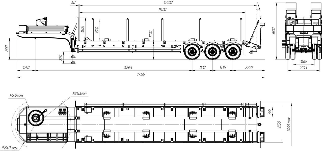 Габаритный чертеж полуприцепа-тяжеловоза УЗСТ 9174-53В3