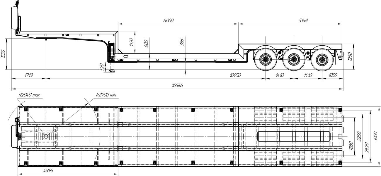 Габаритный чертеж высокорамного полуприцепа-тяжеловоза марки УЗСТ 9174-56В3