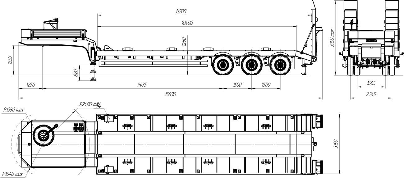 Габаритный чертеж полуприцепа-тяжеловоза УЗСТ 9177-60В3