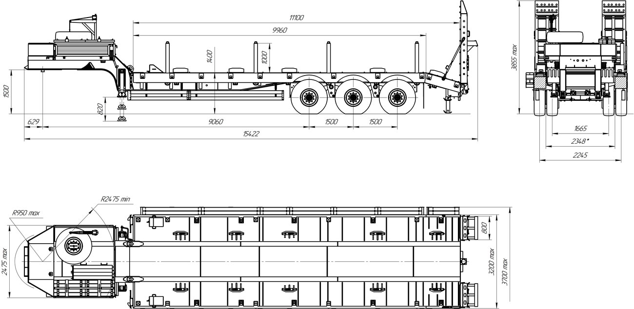 Габаритный чертеж высокорамного полуприцепа-тяжеловоза марки УЗСТ 9174-70В3