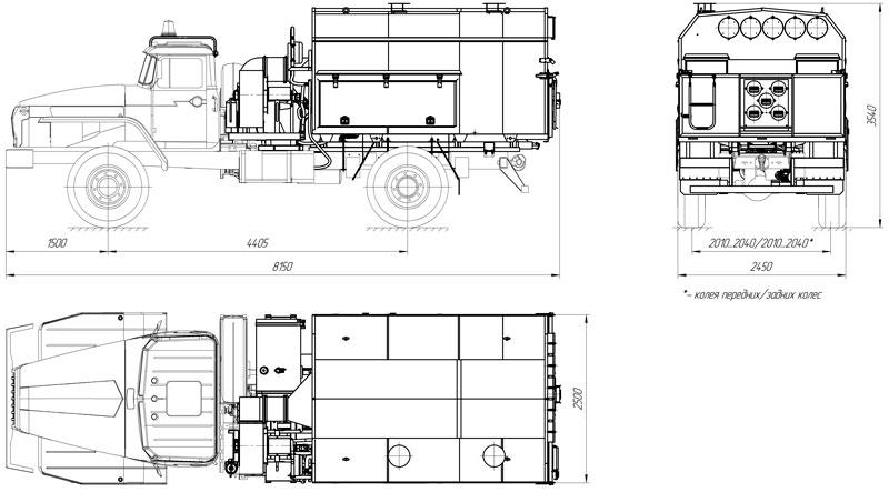 Габаритный чертеж универсального моторного подогревателя УМП-400 Урал 43206-1112-61Е5 (002)