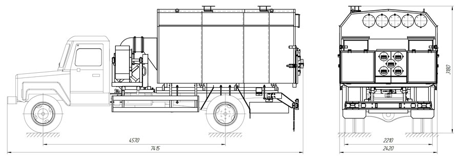 Габаритный чертеж универсального моторного подогревателя УМП-400 ГАЗ 33086