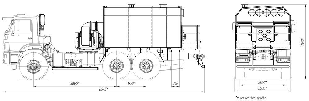 Габаритный чертеж универсального моторного подогревателя УМП-400 Камаз 43118-3011-50
