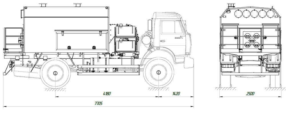 Габаритный чертеж УМП-400 Камаз 4326-1036-15