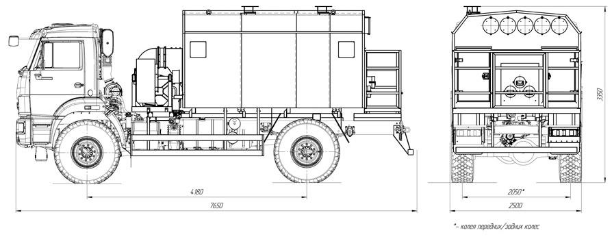 Габаритный чертеж универсального моторного подогревателя УМП-400 Камаз 43502-3036-66(D5)