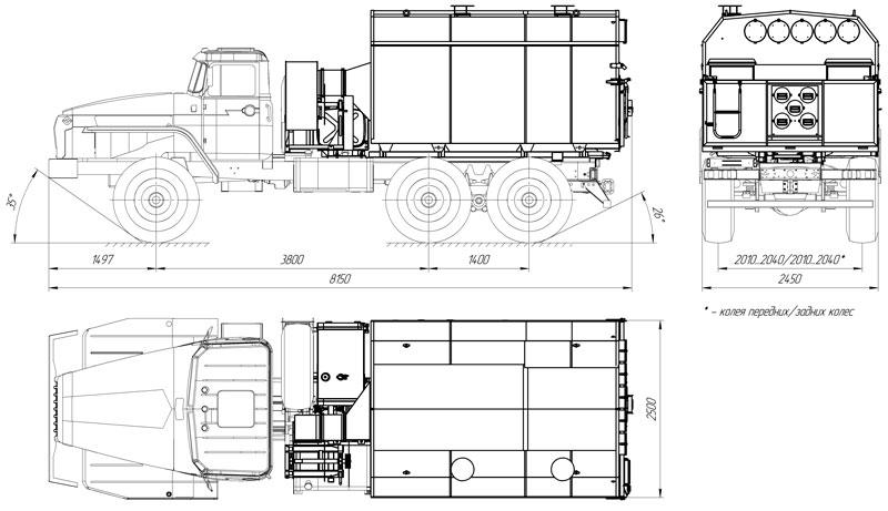 Габаритный чертеж универсального моторного подогревателя УМП-400 Урал 4320-1112-61Е5