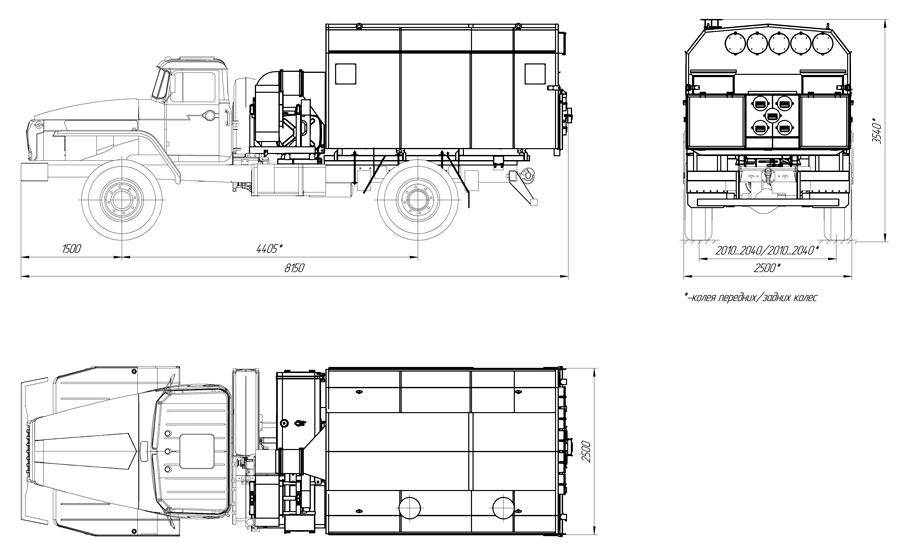 Габаритный чертеж  моторного подогревателя УМП-400 Урал 43206-1112-61Е5 (001)