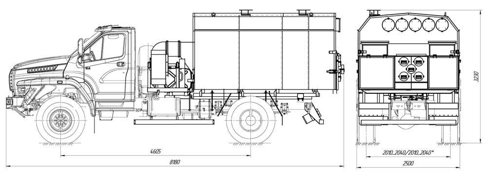 Габаритный чертеж УМП-400 Урал-NEXT 43206-6152-72Е5Г38 (001)