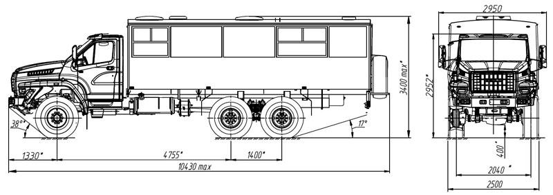 Габаритный чертеж вахтового автобуса на шасси Урал-NEXT 3255-5013-71Е5-28