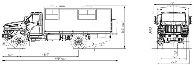 Габаритный чертеж вахтового автобуса на шасси Урал-NEXT 32552-5013-71Е5