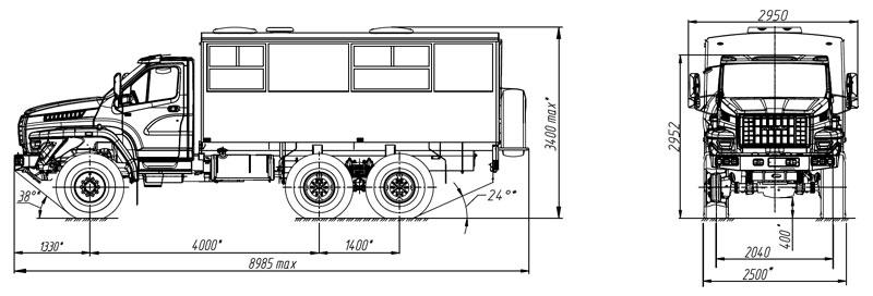 Габаритный чертеж вахтового автобуса на шасси Урал-NEXT 32551-5013-71Е5