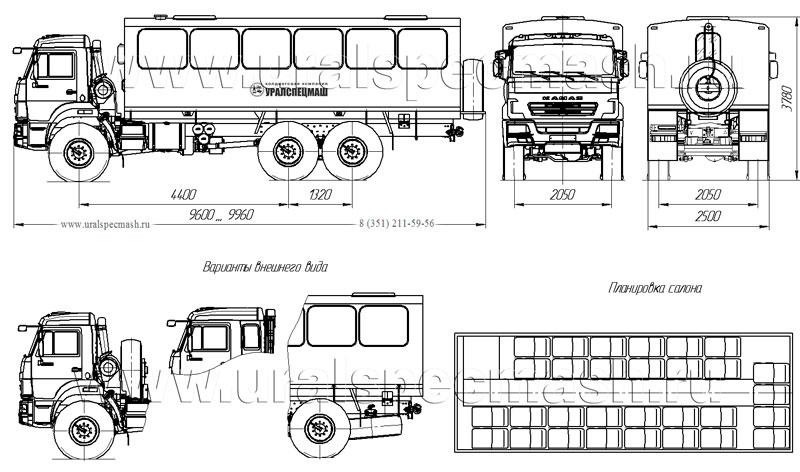 Габаритный чертеж вахтового автобуса на шасси Камаз 43118 – 30 мест