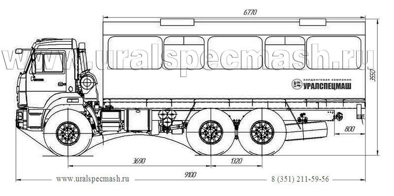 Габаритный чертеж вахтового автобуса Камаз 43118-50 на 28 мест