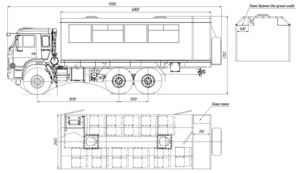Габаритный чертеж вахтового автобуса Камаз 43118-3027-50 (002) – 22 места