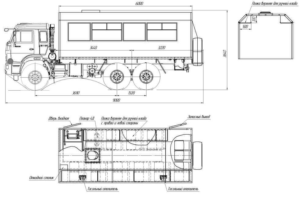 Габаритный чертеж вахтового автобуса Камаз 43118-3017-50 (003) – 22 места